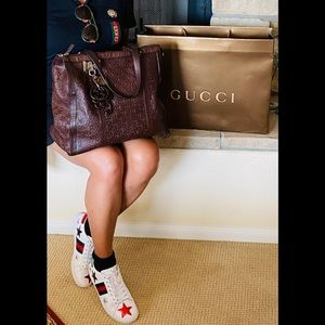🦋GUCCI GUCCISSIMA LEATHER DARK BROWN TOTE 👜
